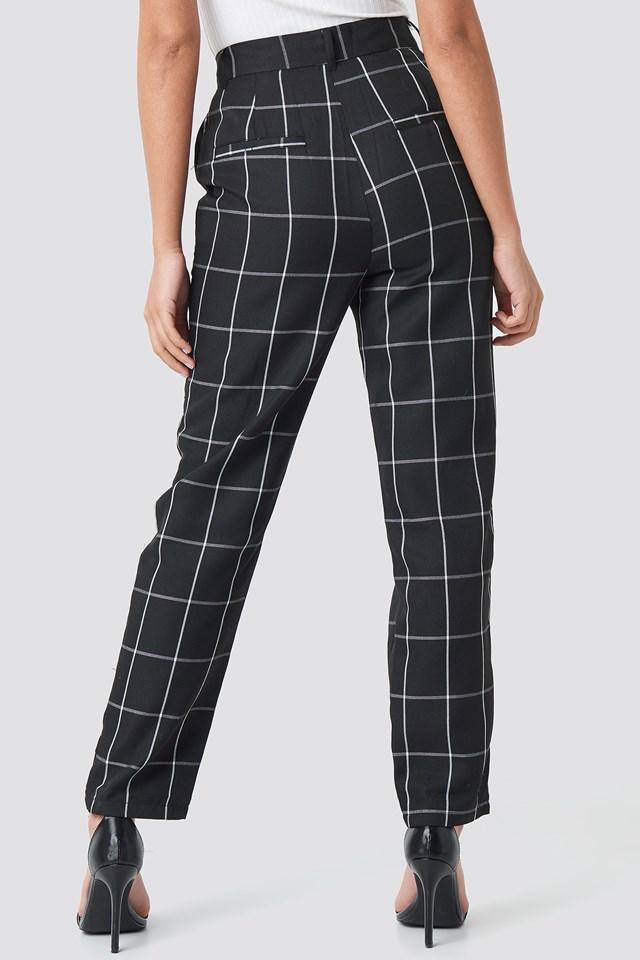 Spodnie garniturowe w kratkę Black