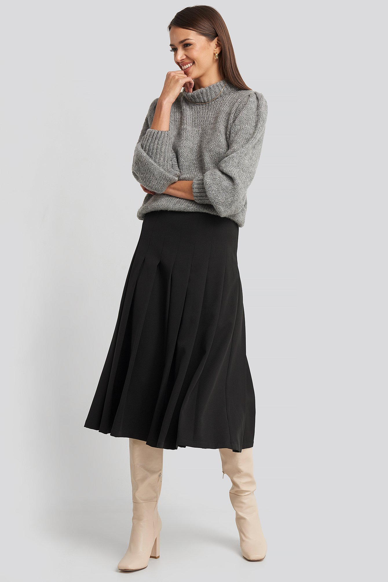 na-kd classic -  Tailored Pleated Midi Skirt - Black