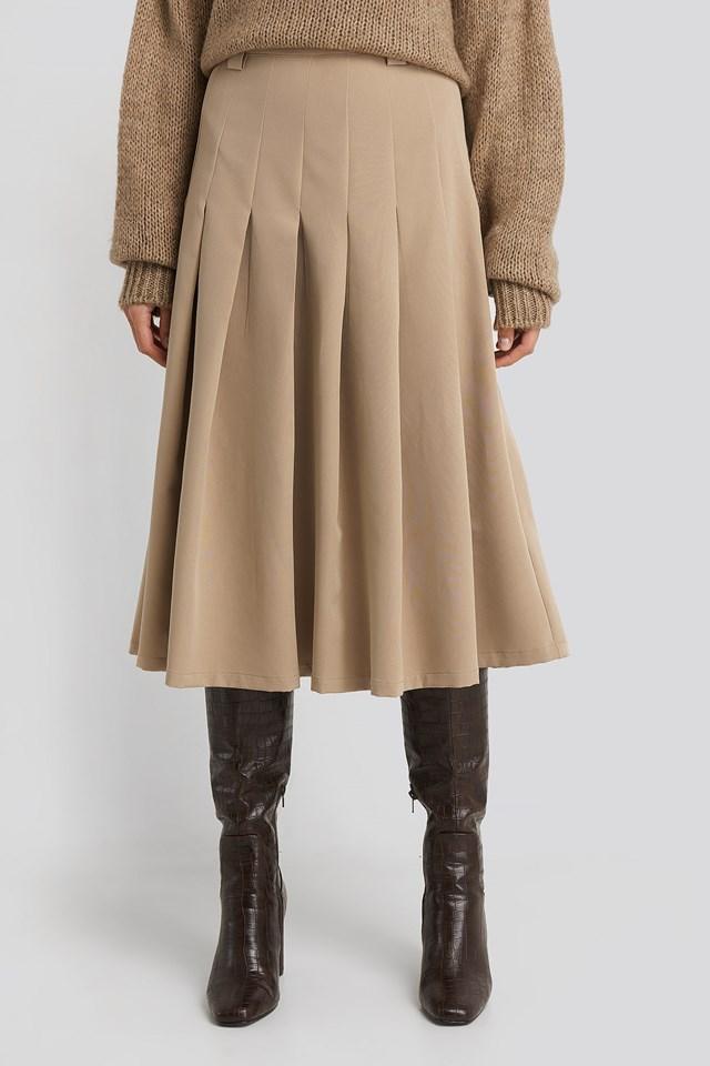 Tailored Pleated Midi Skirt Beige