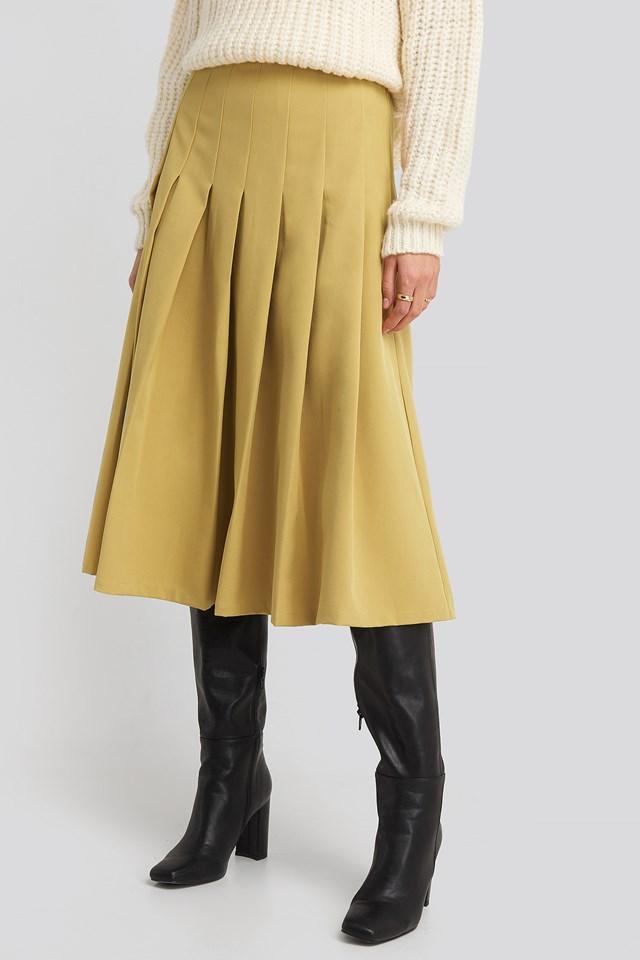 Tailored Pleated Midi Skirt Lime