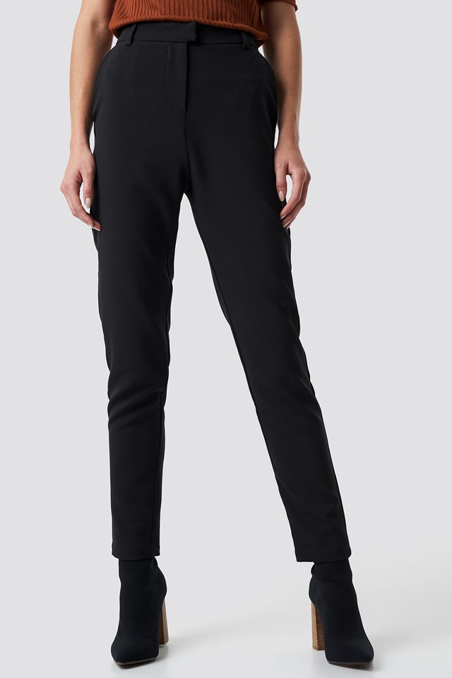 Tailored Straight Suit Pants Black