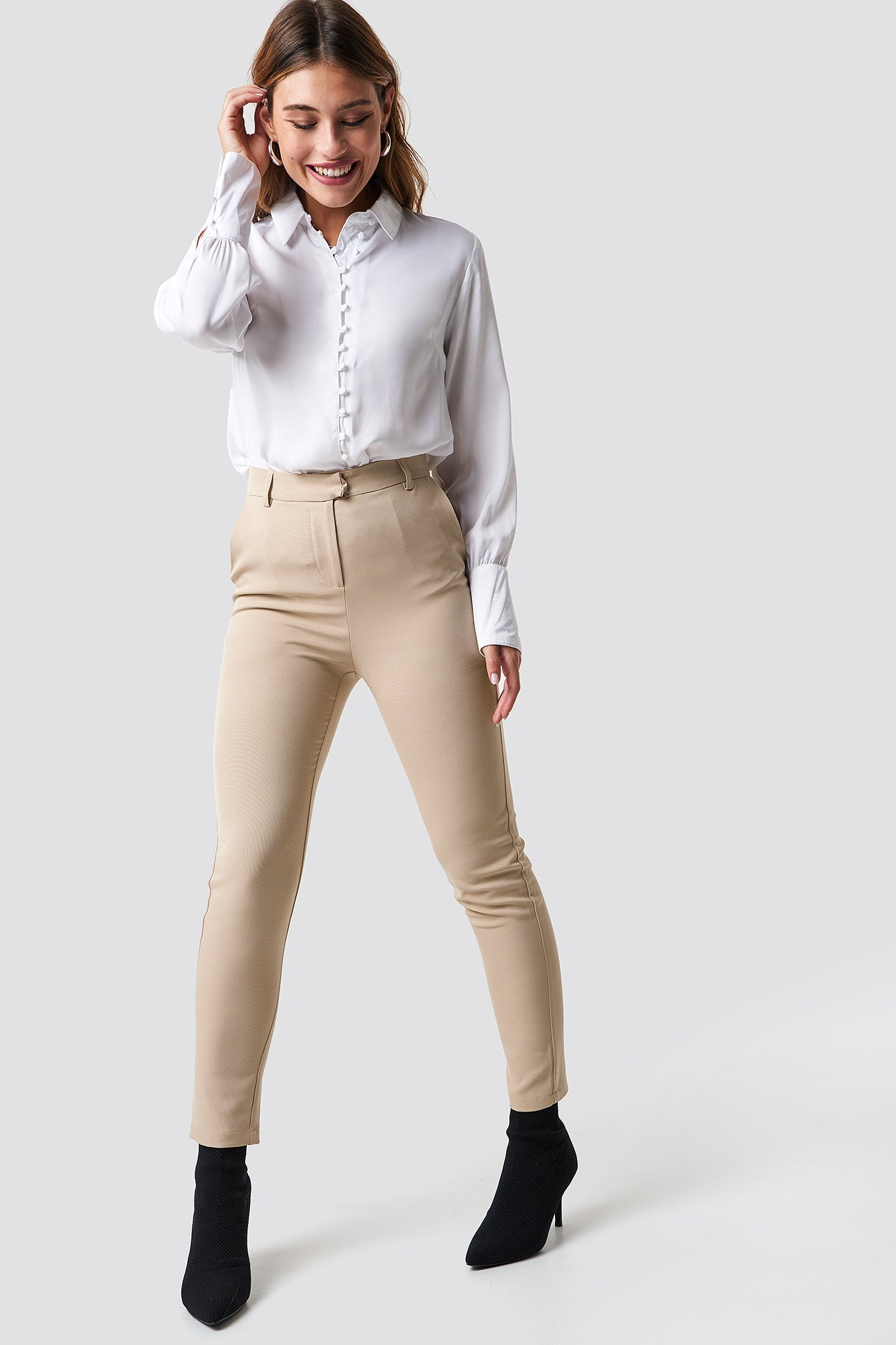 na-kd classic -  Tailored Straight Suit Pants - Beige