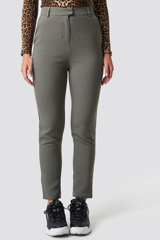 Tailored Straight Suit Pants Khaki Green