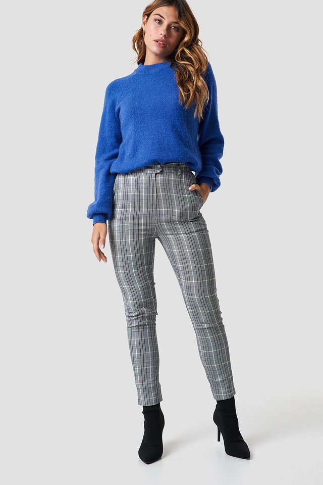 Tailored Straight Suit Pants Grey Check