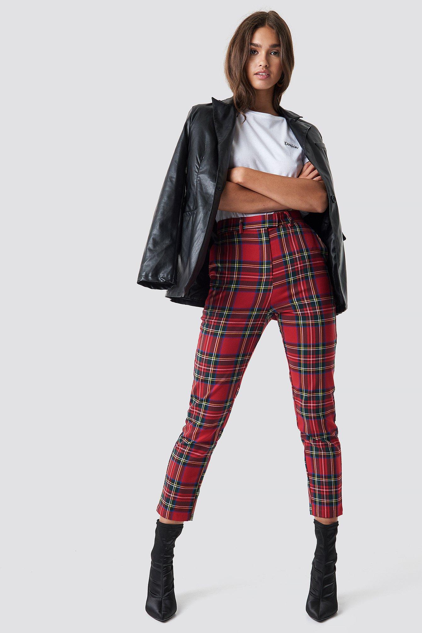 na-kd trend -  Tartan Suit Pants - Red