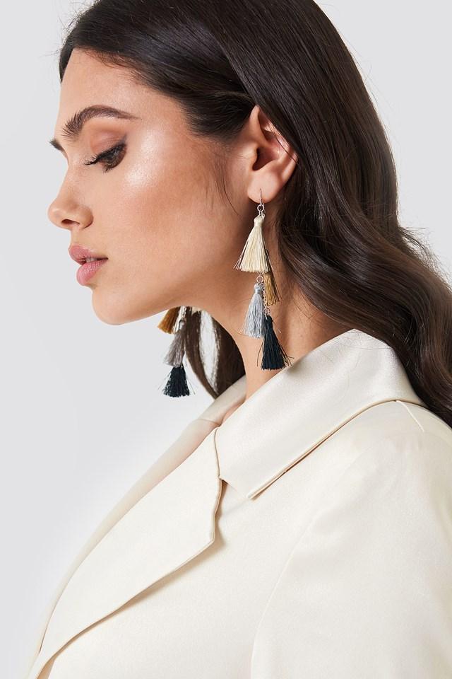 Tassels Earrings Beige/Silver