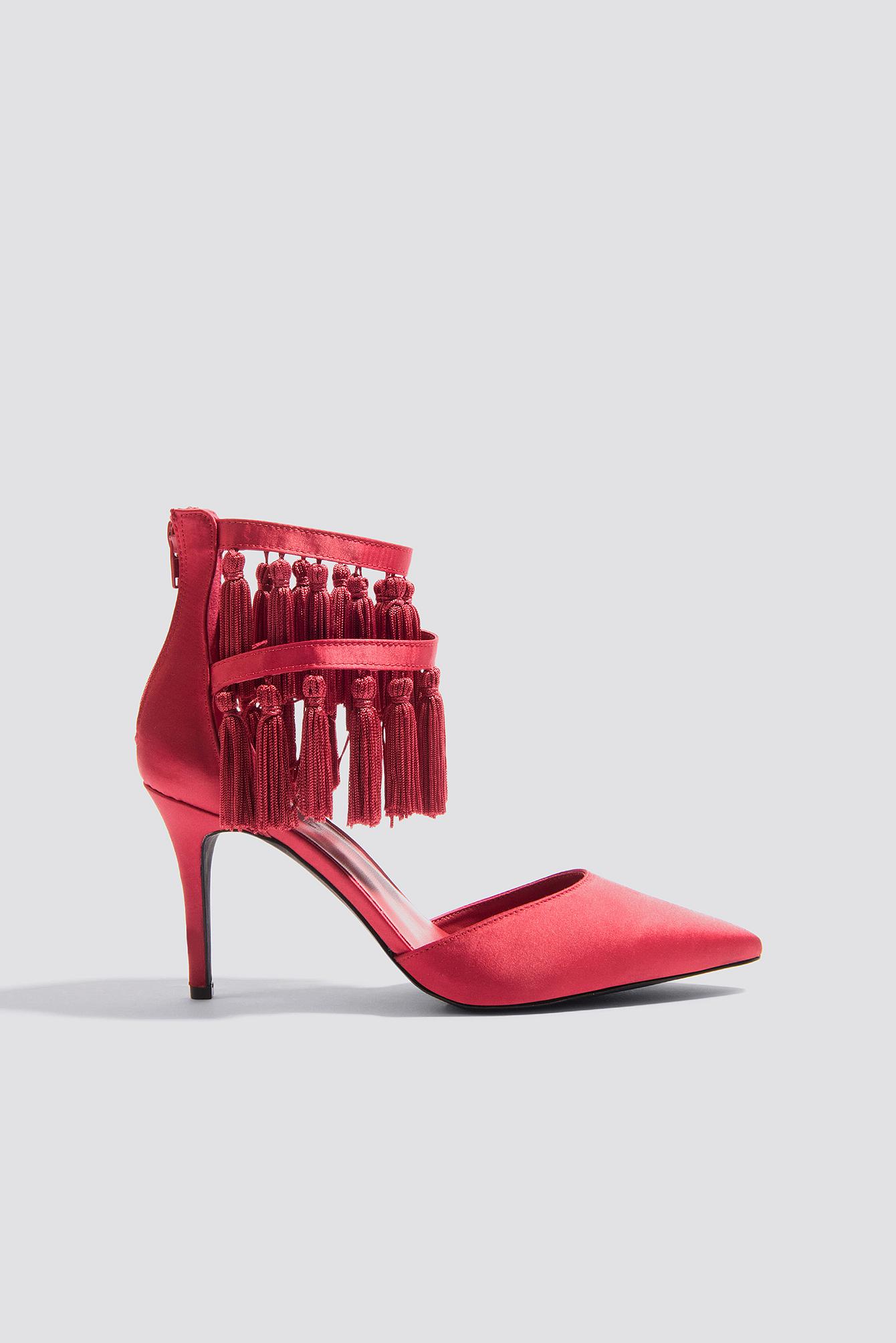 buy online 874c0 80327 split leather ankle boots shoes color camel  tassle high heels na kd