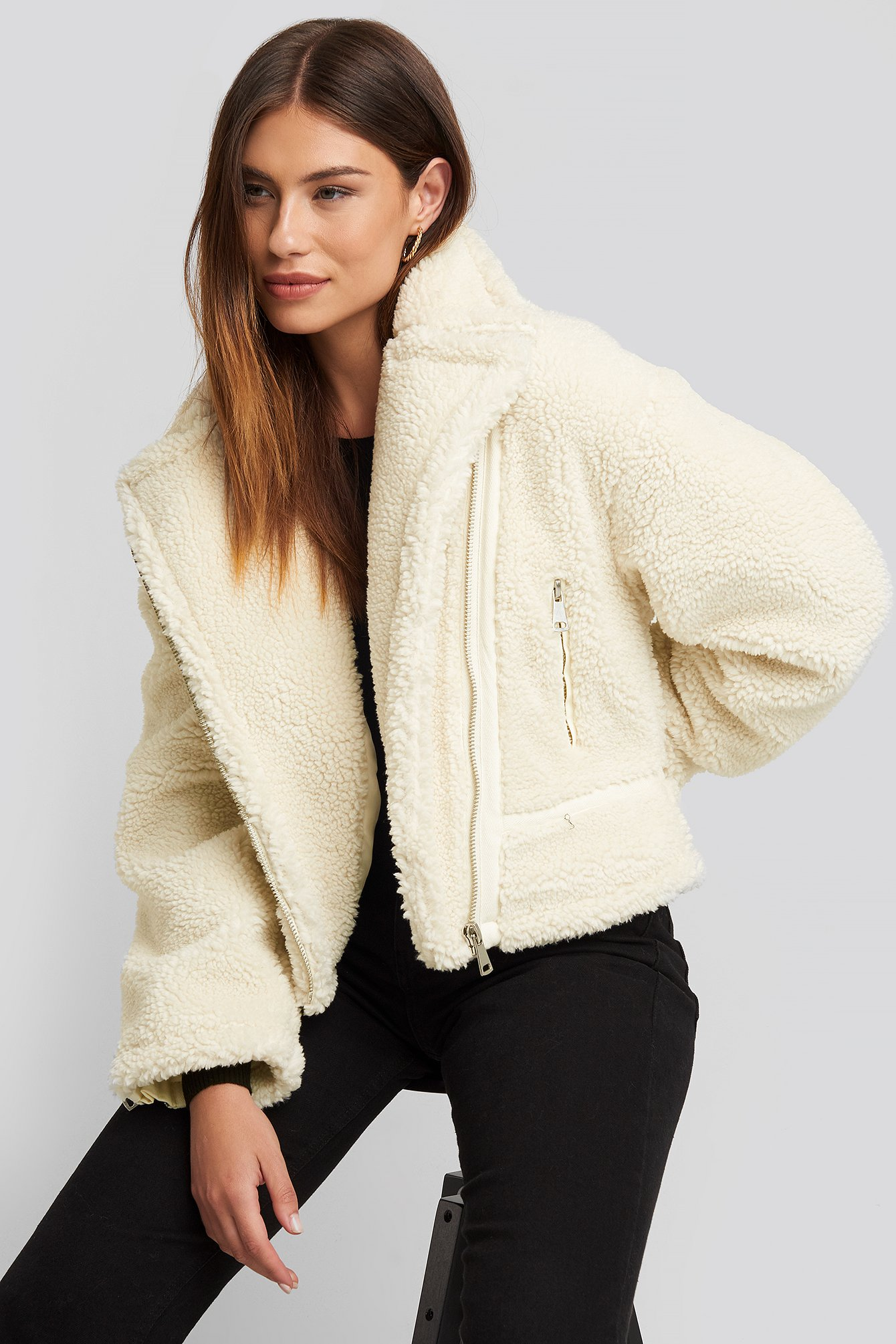 na-kd -  Teddy Biker Jacket - White