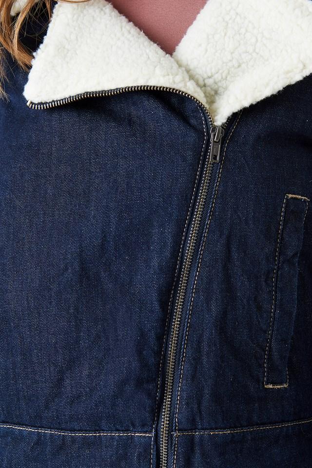 Teddy Denim Biker Jacket NA-KD.COM
