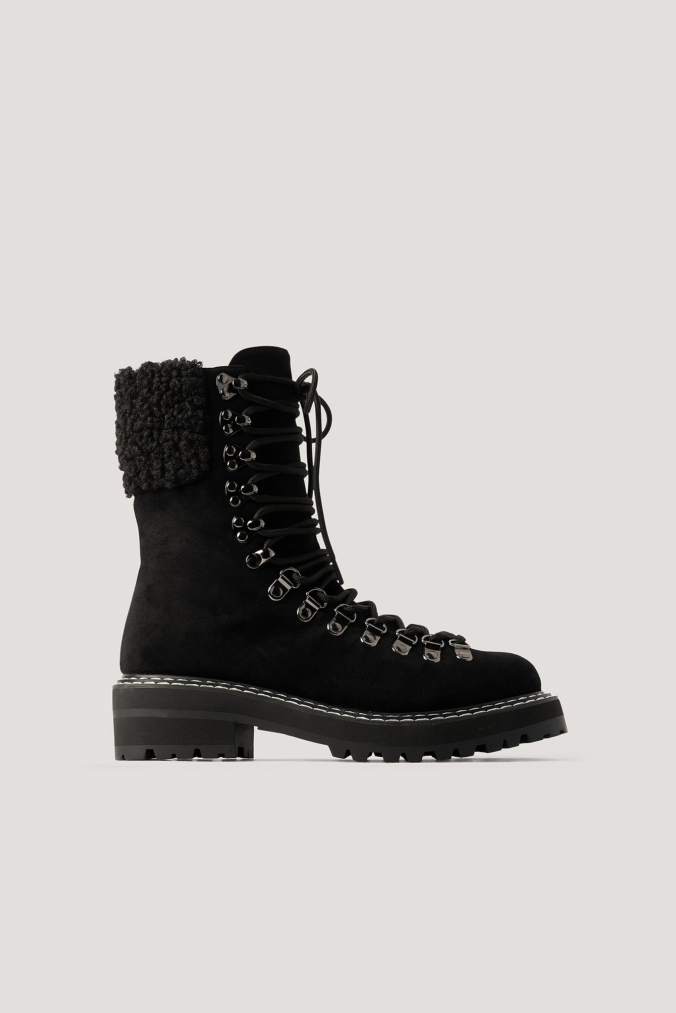 Na-Kd Shoes Teddy Detailed Trekking Boots - Black