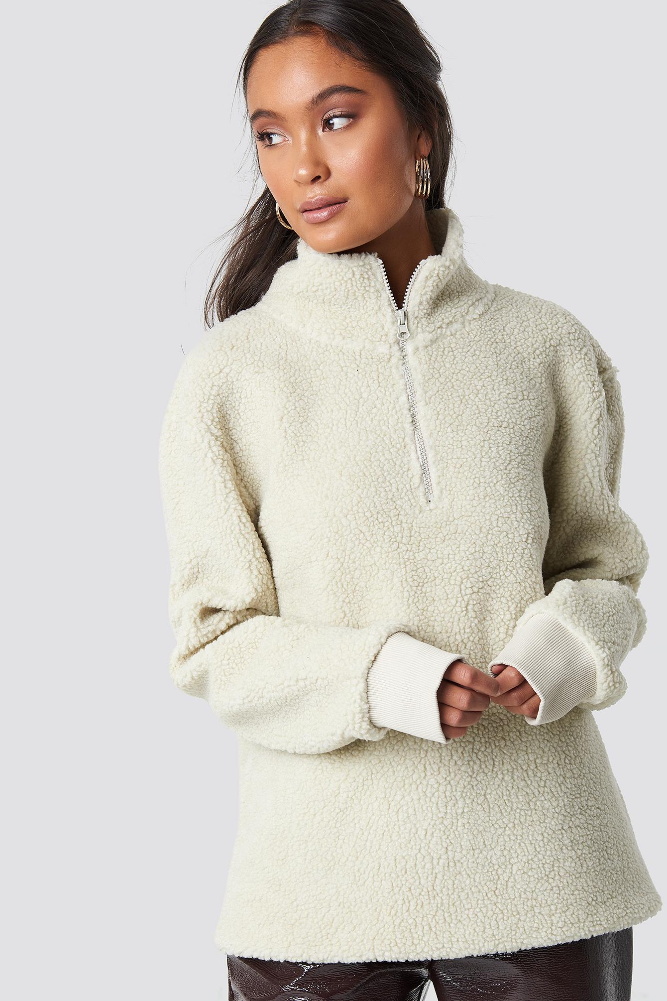 Teddy Zipper Sweatshirt NA-KD.COM