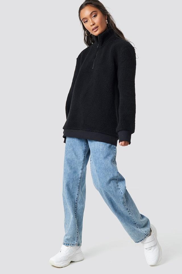 Teddy Zipper Sweatshirt Black