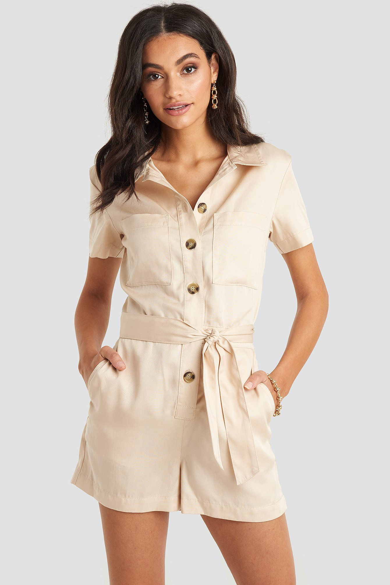Sand Tencel Belted Cargo Playsuit