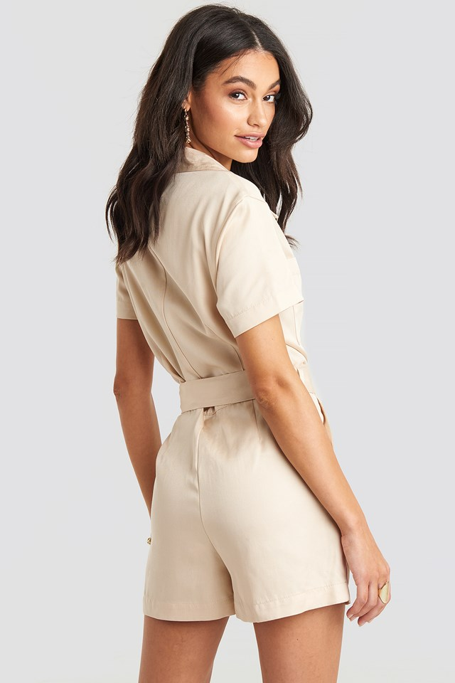 Tencel Belted Cargo Playsuit Sand