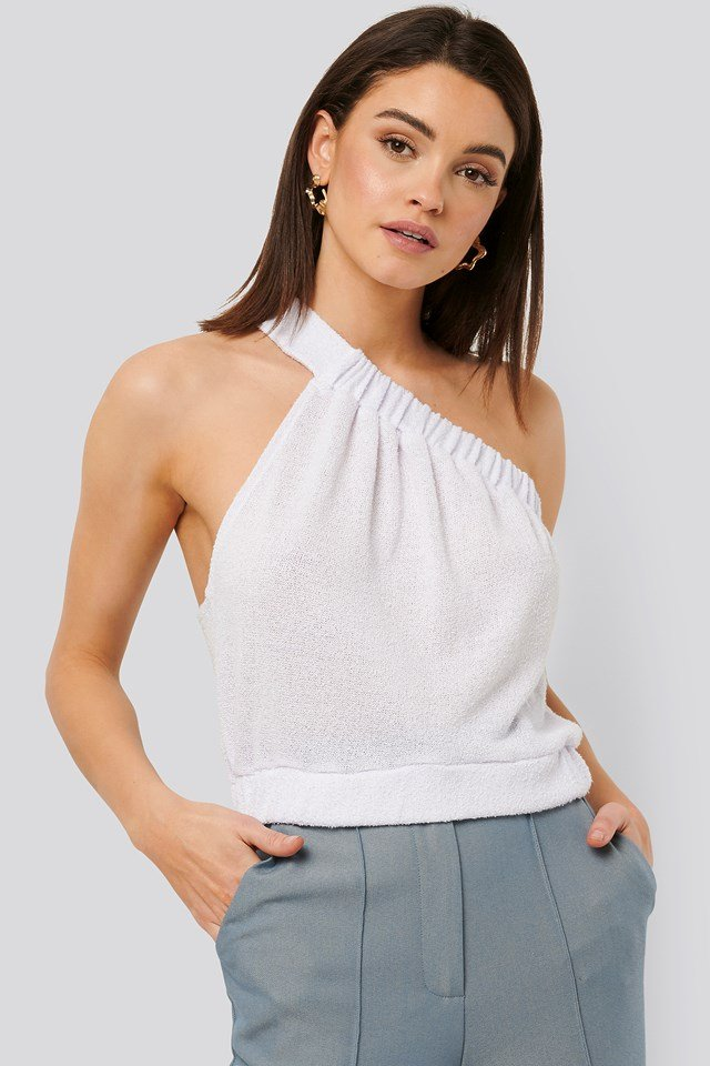 Terry Elastic Asymmetric Top White