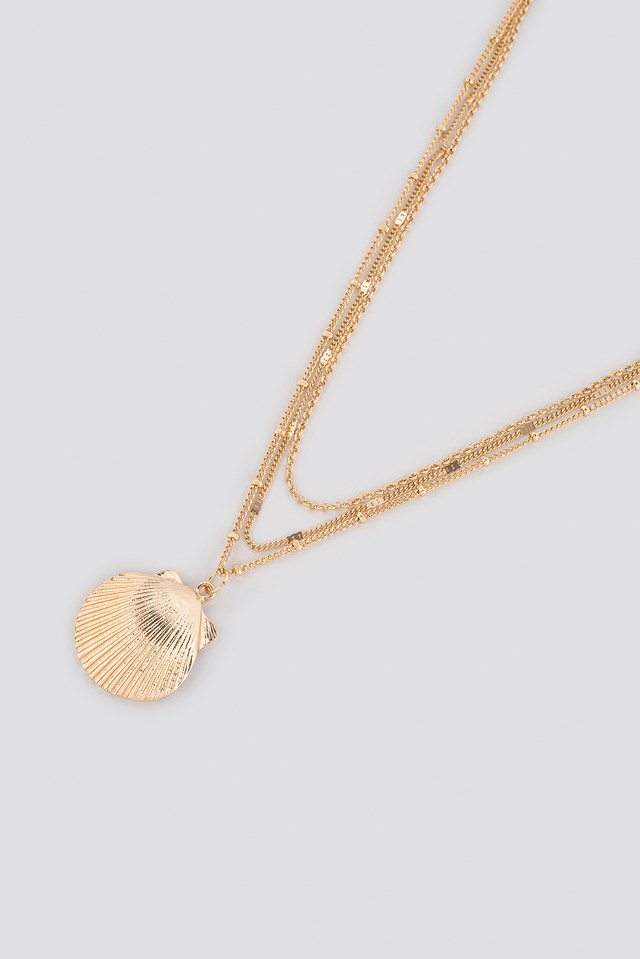 Textured Chain Shell Necklace Gold