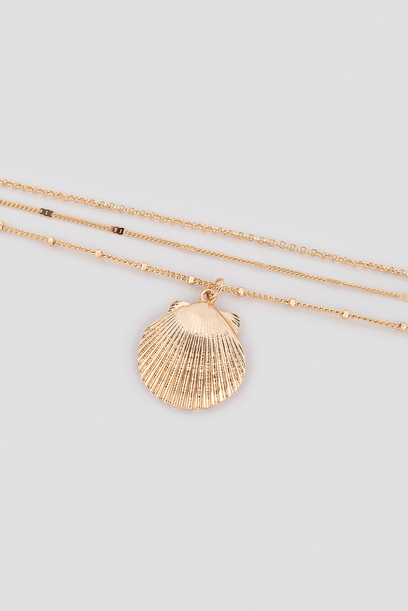 Textured Chain Shell Necklace NA-KD.COM