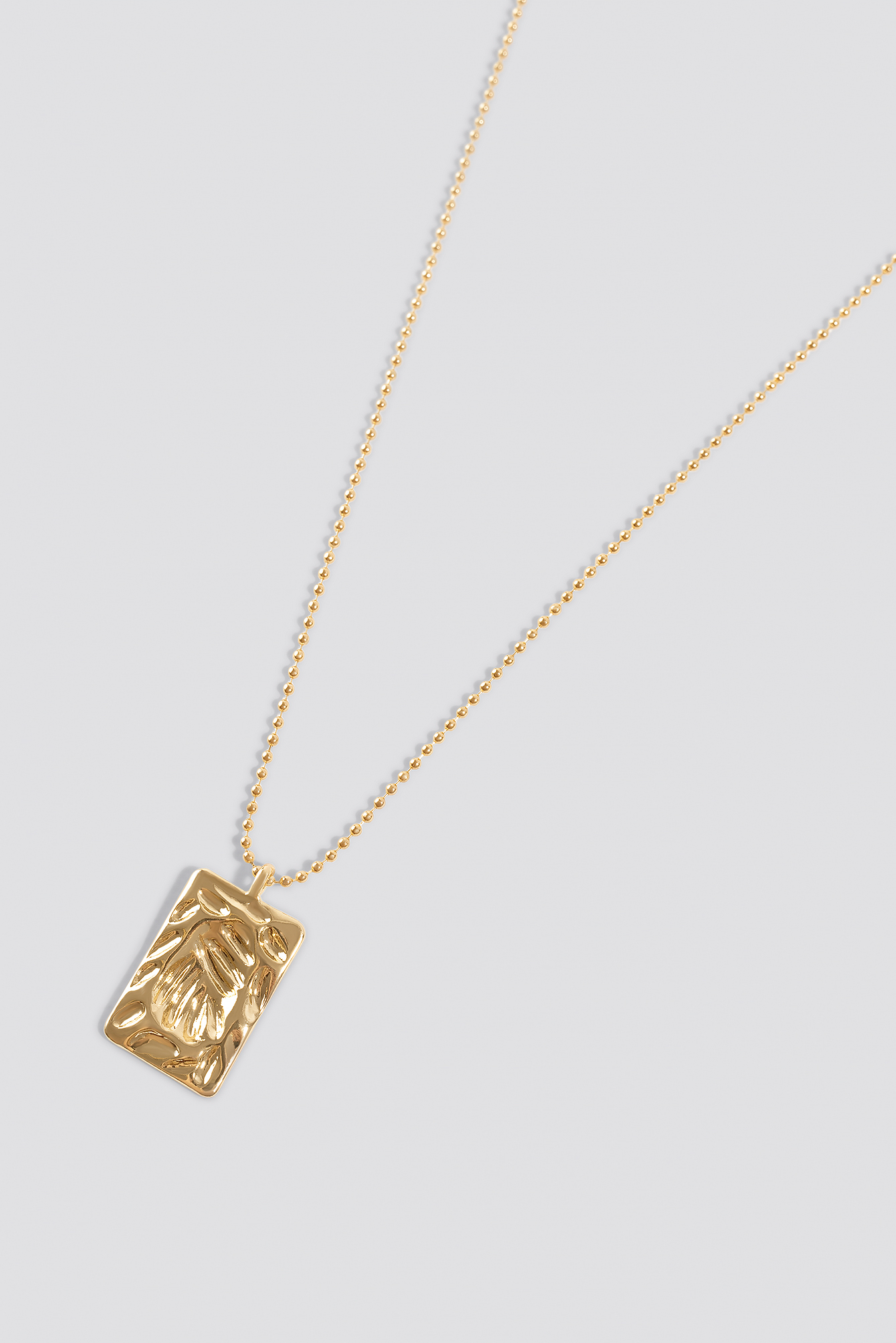 Gold Textured Plate Necklace