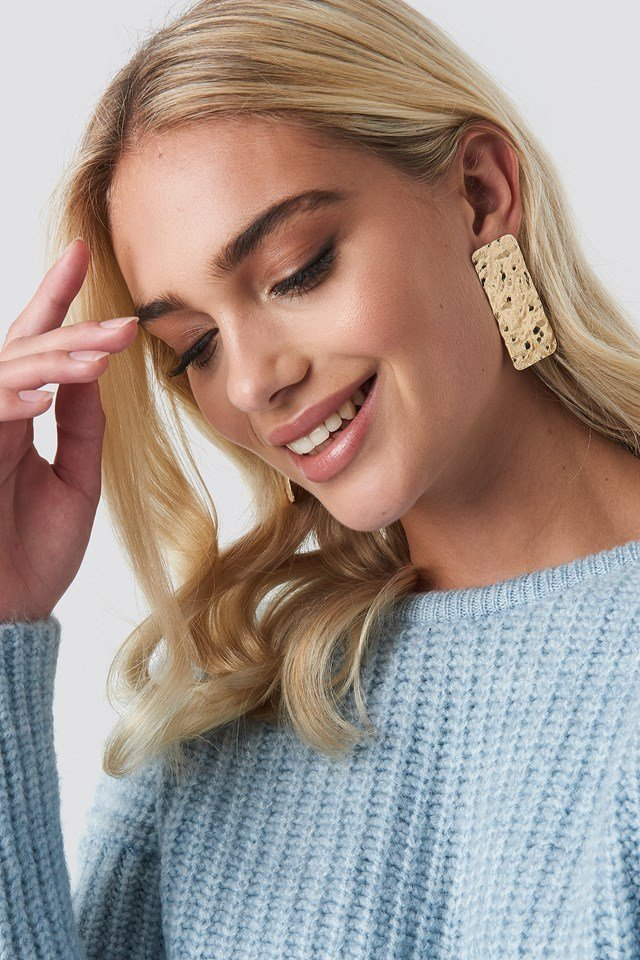 Textured Rectangle Earrings NA-KD Accessories
