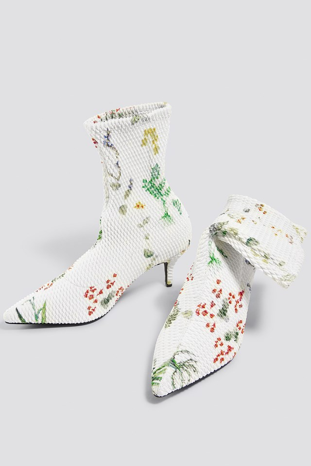 Textured Sock Boots White/Print