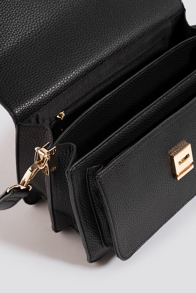 Textured Squared Crossbody Bag Black