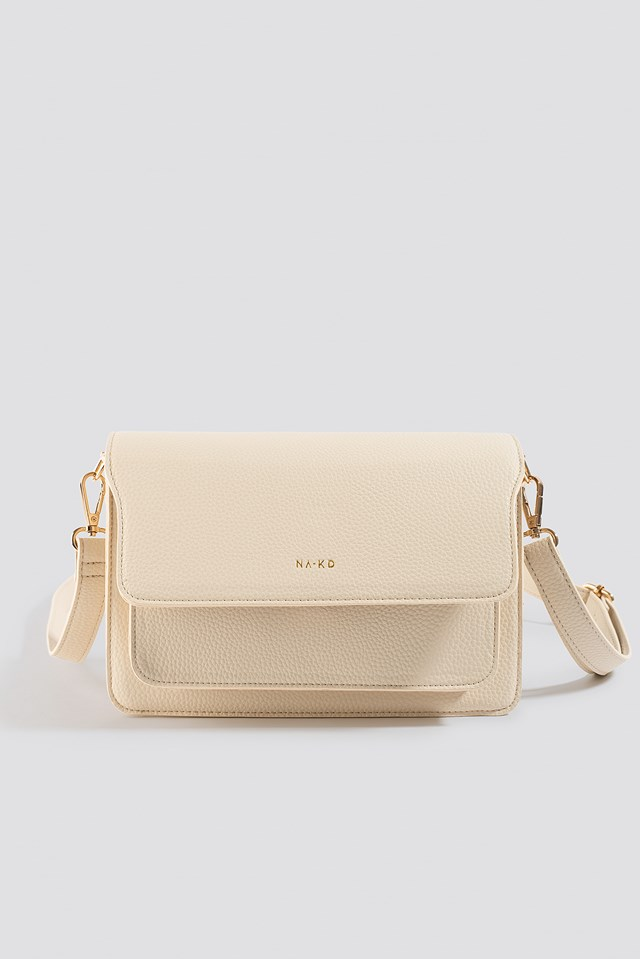 Textured Squared Crossbody Bag Nude