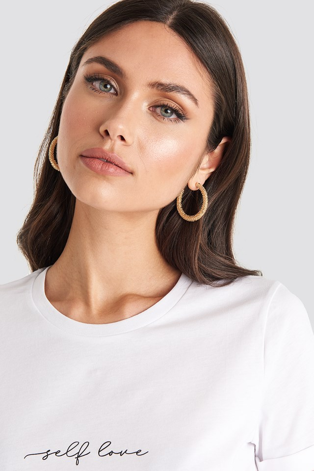 Textured Thick Hoops Gold