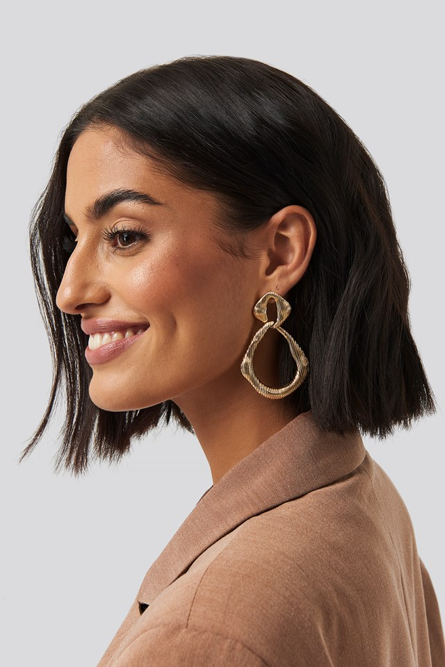 Textured Uneven Double Hoops NA-KD Accessories