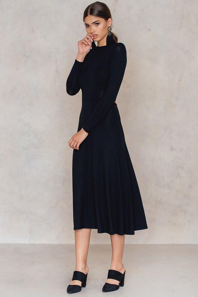 Tie Back Jersey Dress Black