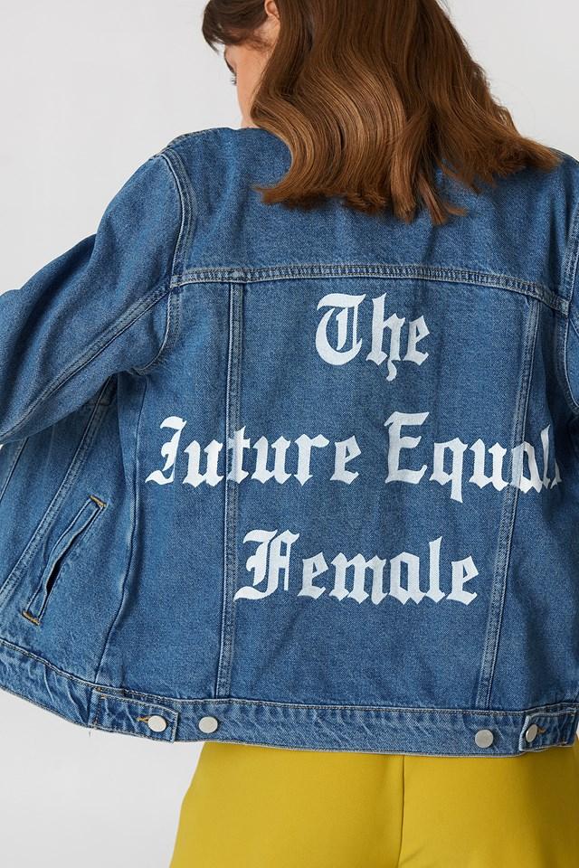 The Future Equals Female Denim Jacket Medium Wash