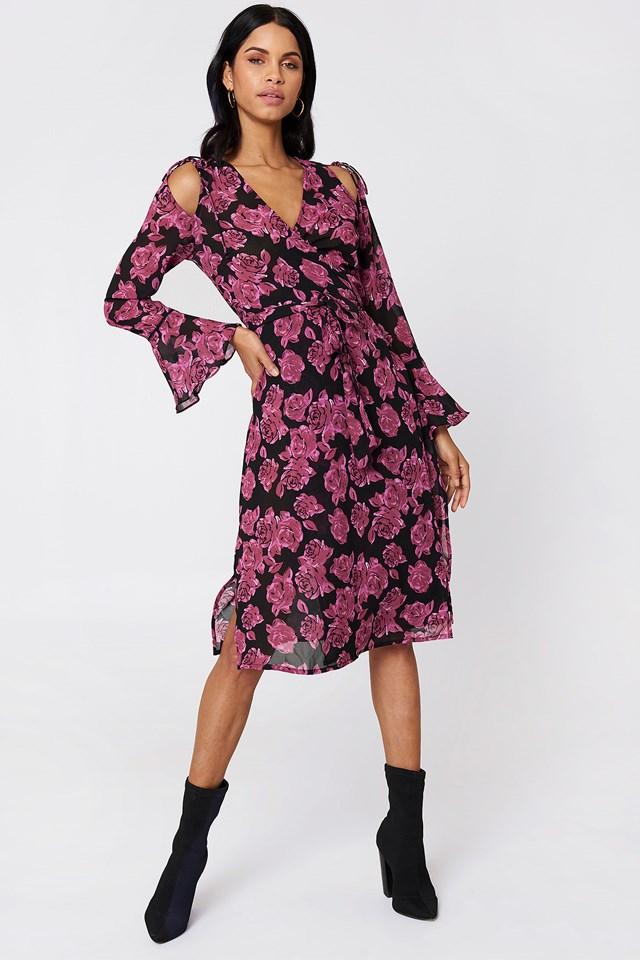 Tie Sleeve Caftan Dress Burgundy Roses