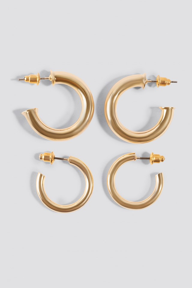 Thick Mini Hoop (Double Pack) Gold