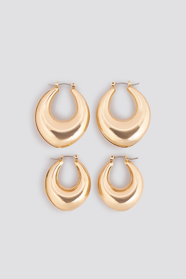 Thick Pointy Hoops (Double Pack) Gold