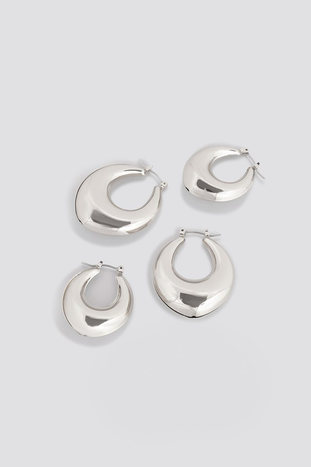Thick Pointy Hoops (Double Pack) Silver