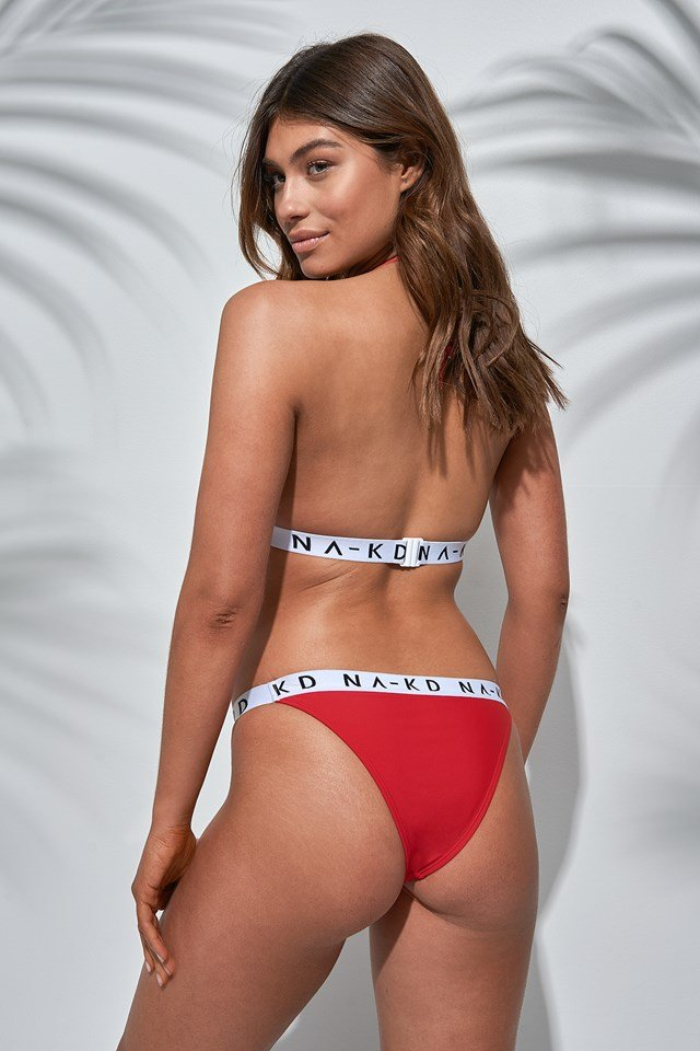 Thin Sporty Logo Bikini Panty Red