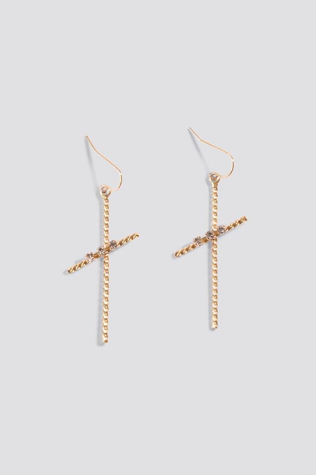 Thin Rope Cross Earrings Gold