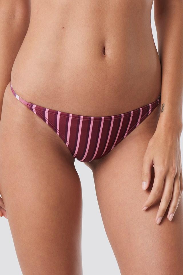 Thin Strap Bikini Briefs Burgundy Triple Stripes