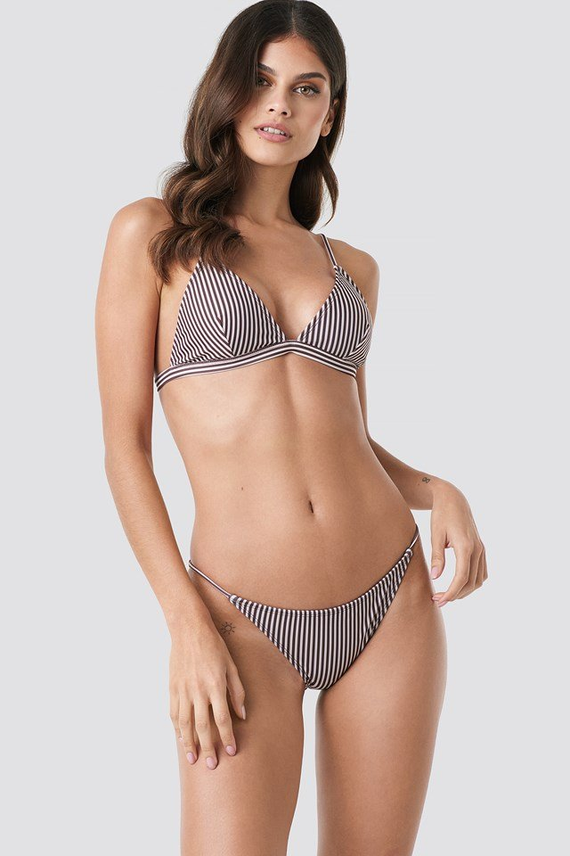 Thin Strap Bikini Briefs Brown Stripe