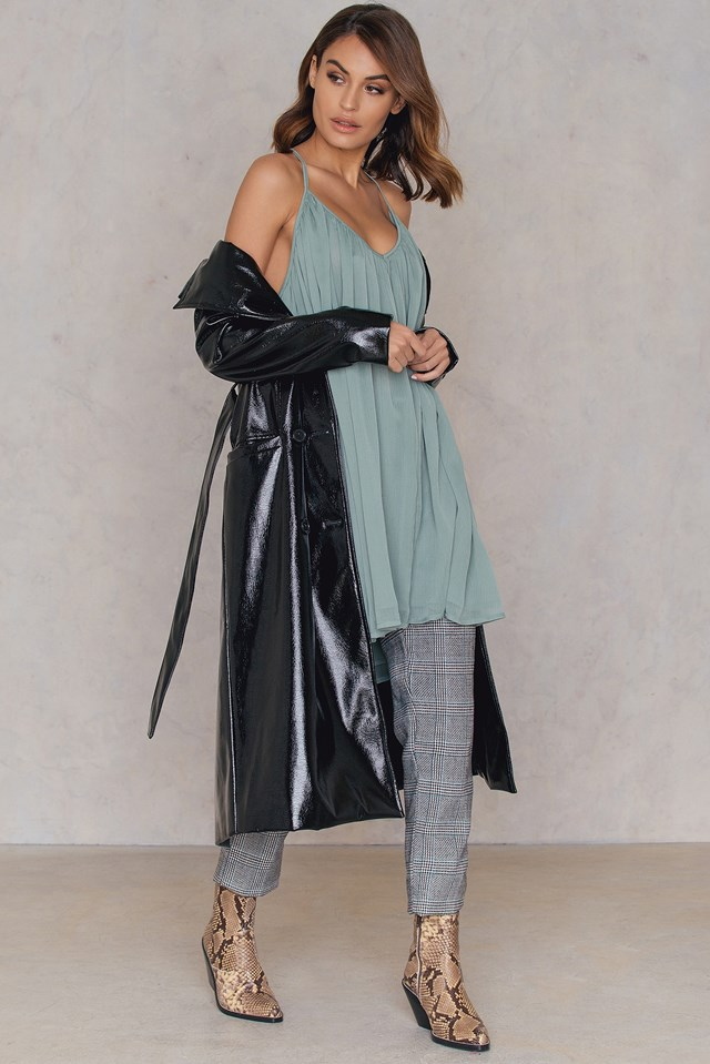 Thin Strap Chiffon Dress Dusty Green
