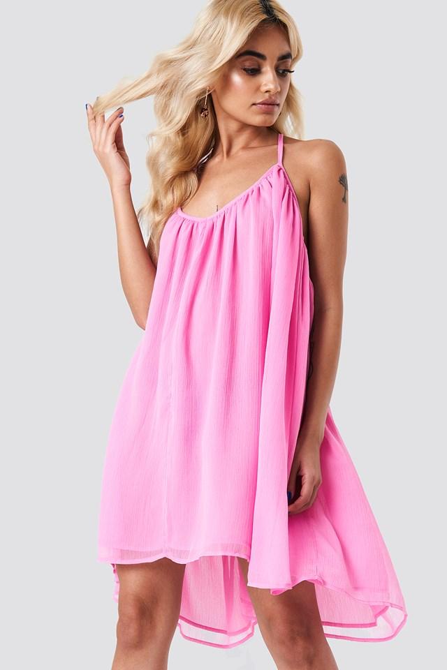Thin Strap Chiffon Dress Bubblegum
