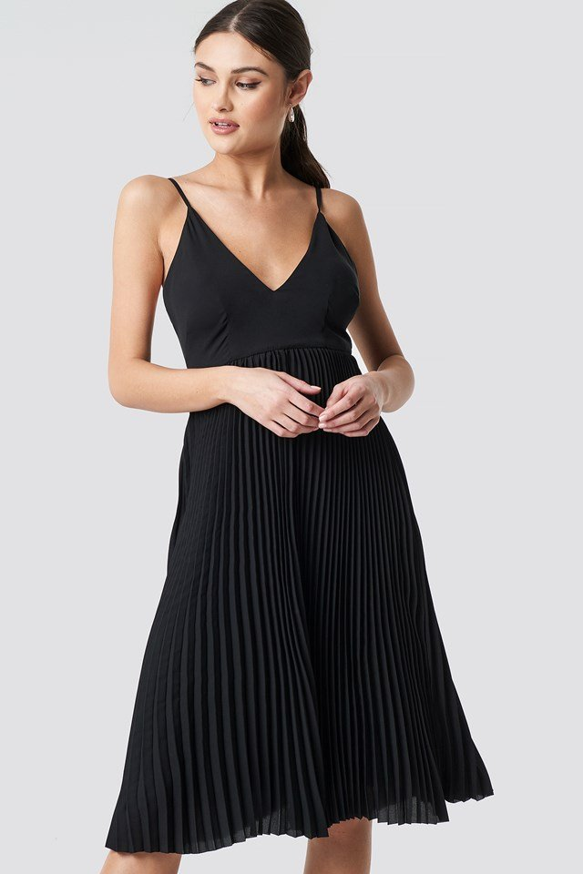 Thin Strap Deep V-Neck Dress Black