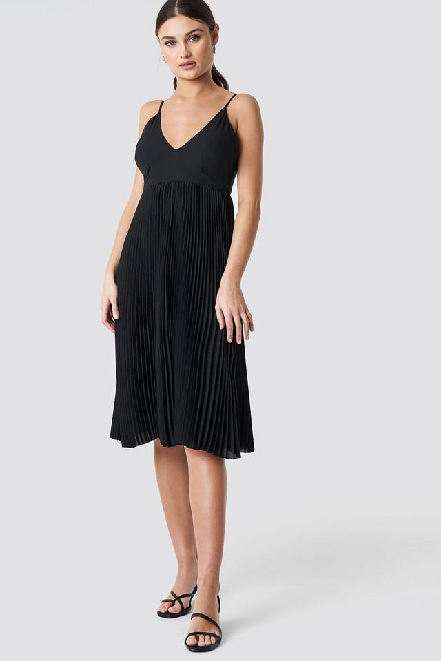 Thin Strap Deep V-Neck Dress Black