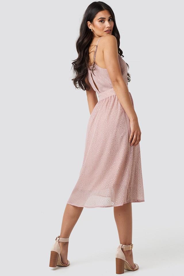 Thin Strap Dotted Chiffon Dress Nude Pink