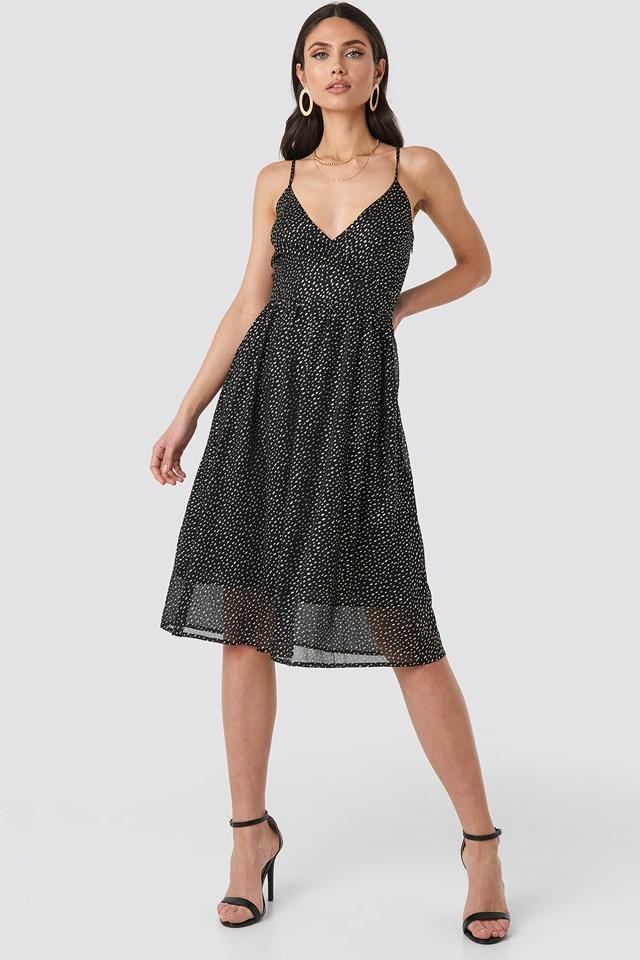 Thin Strap Dotted Chiffon Dress Black