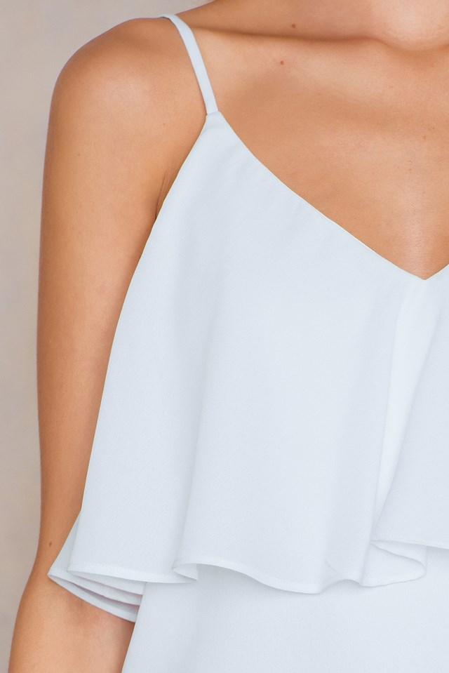 Thin Strap Flounce Top White
