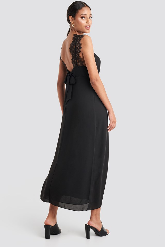 Thin Strap Lace Back Dress Black