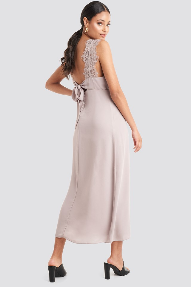Thin Strap Lace Back Dress Dusty Pink