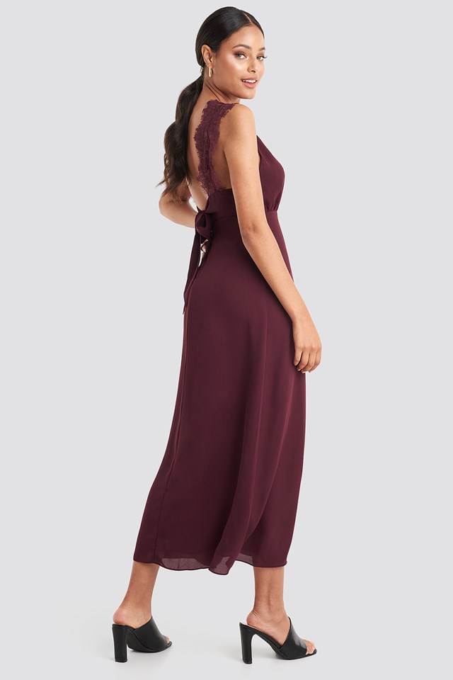 Thin Strap Lace Back Dress Burgundy