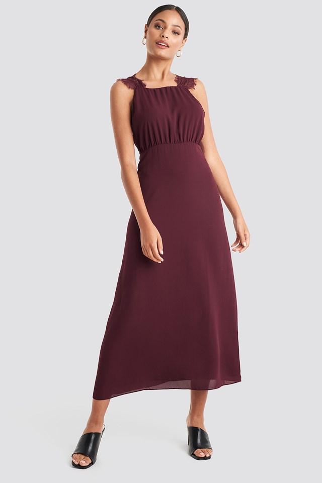Thin Strap Lace Back Dress Burgundy