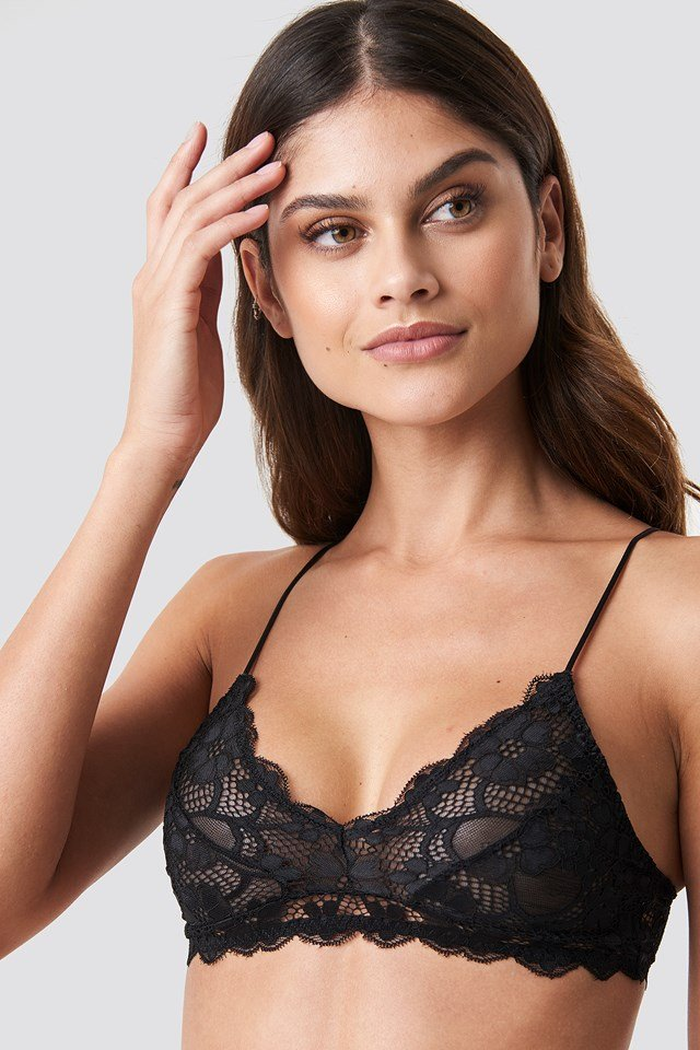 Thin Strap Lace Bra Black